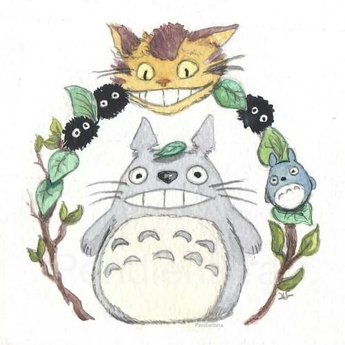 #mivecinototoro #fanart terminado #illustration #ilustración #pendientera #Totoro #luzsánchezaguilar #drawing #dibujo #catbus #gatobus #duendesdelpolvo #ghibli #acuarelas #watercolor #instart #anime #cute #kawaii #picoftheday #instagramer #art #madeinc