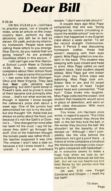 """The Observer"" October 15, 1984 p2: ""Dear Bill"""