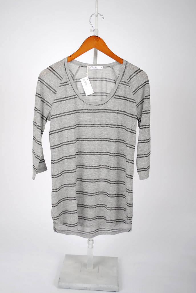 Scoop Neck Striped 3/4 Sleeve Top