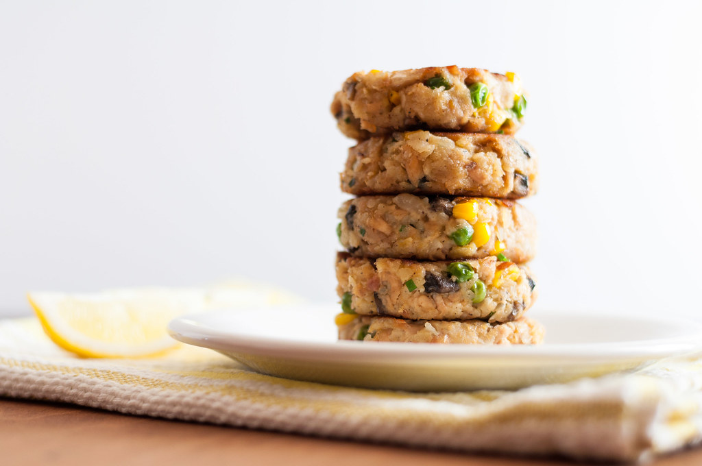 Stack of tuna cakes