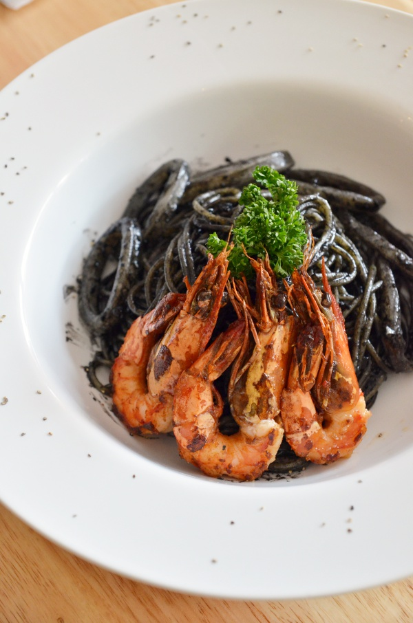 Squid Ink Pasta with Grilled Prawns