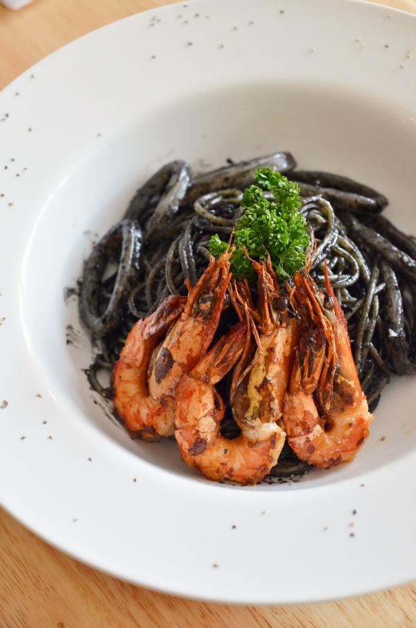 Squid Ink Pasta with Grilled Prawns