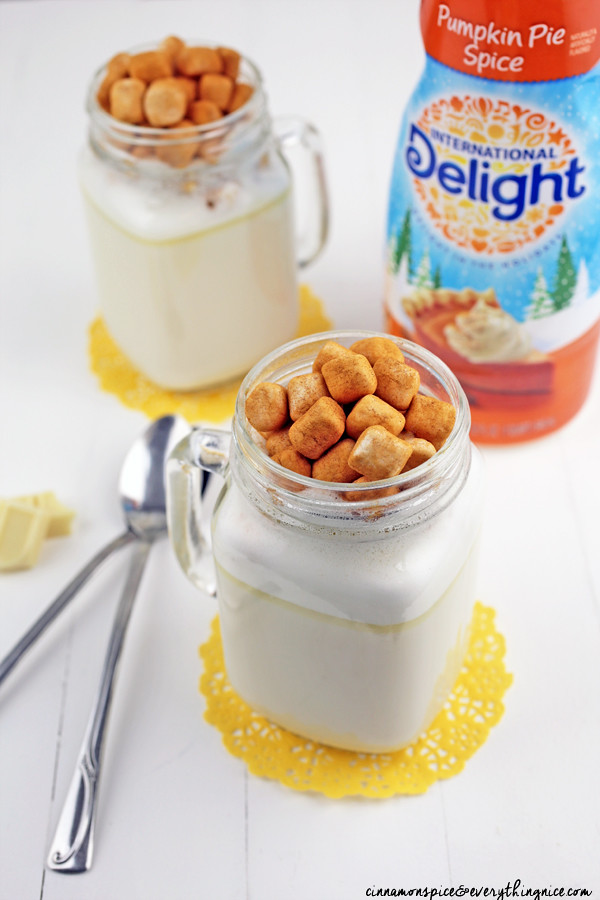 Pumpkin Pie Spiced White Hot Chocolate #ads #idelight