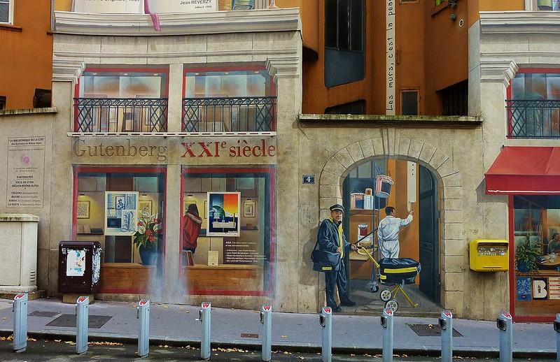 Lyon, fresque des écrivains, détail
