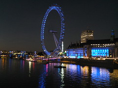 The London Eye & County Hall on the River Thames in London, England