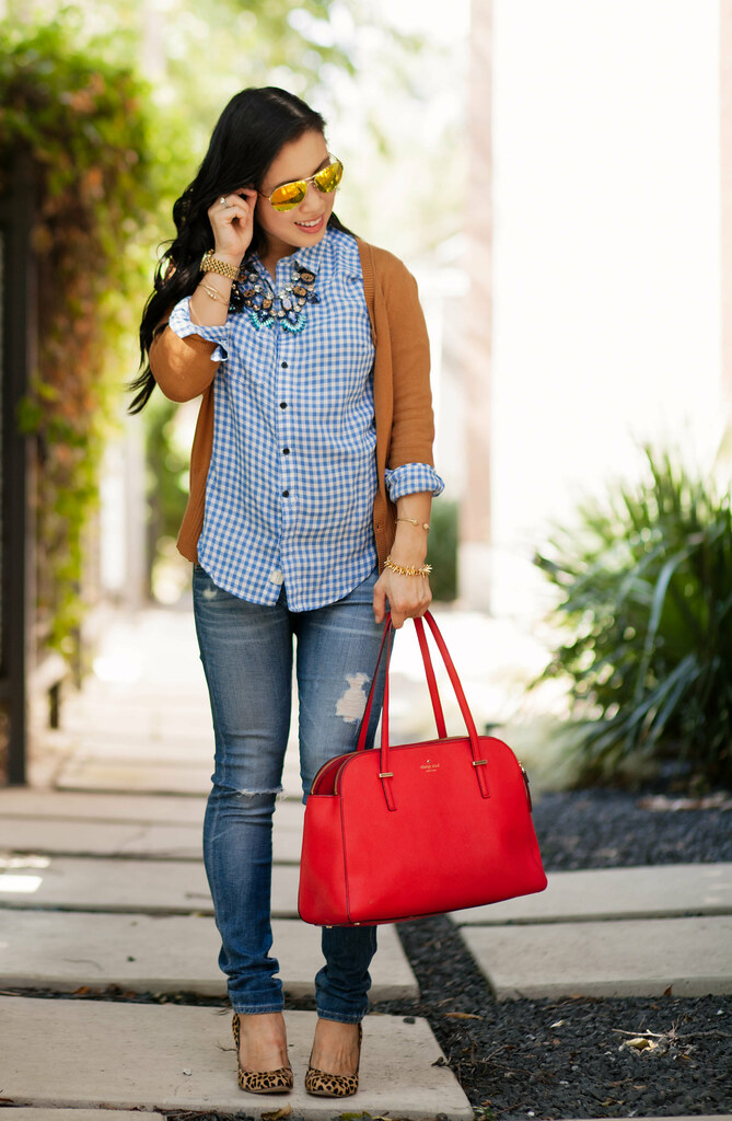 cute & little blog | petite fashion | maternity baby bump pregnant fall style | tan cardigan, gingham shirt, distressed jeans, leopard pumps, bauble bar statement necklace, kate spade red bag | second trimester 24 weeks