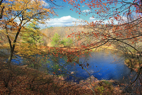 autumn trees sky mountains nature clouds landscape pond hiking pennsylvania hills creativecommons bluemountain appalachianmountains stratocumulus kittatinnymountain carboncounty lehighgap lehighgapnaturecenter