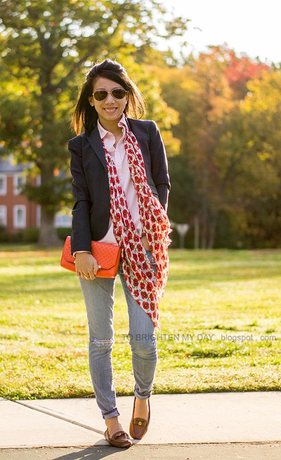 navy blazer, pink striped button up shirt, floral scarf, orange clutch, brown loafers