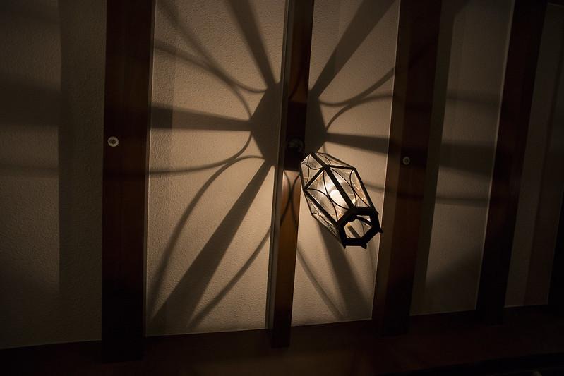 Ceiling lamp of vintage hotel in Izu peninsula Japan.