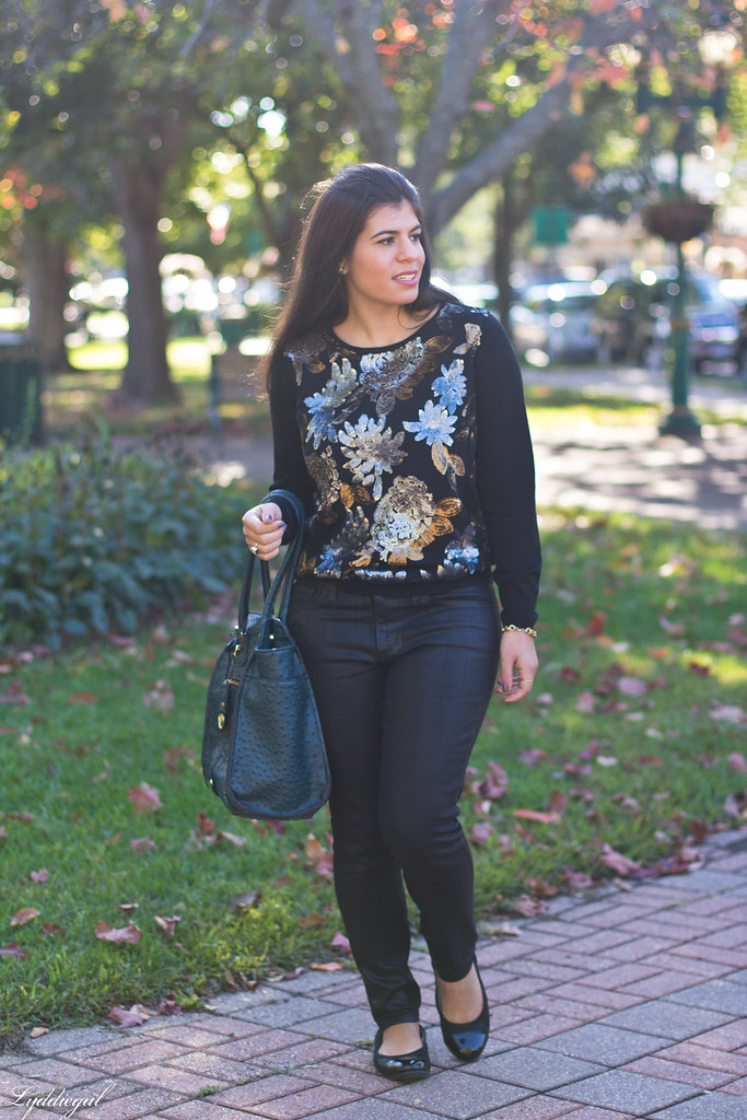 Sequined Floral Sweater, Black Coated Denim-5.jpg