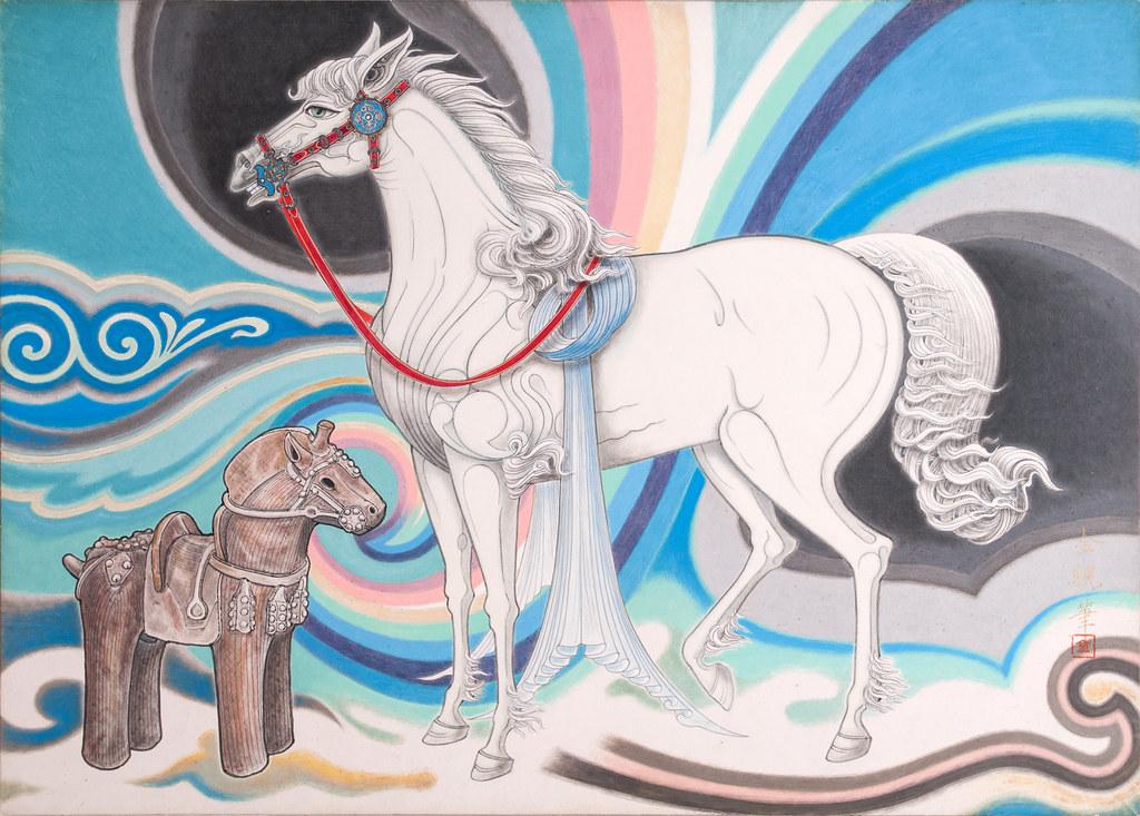 白馬と埴輪の馬之図
