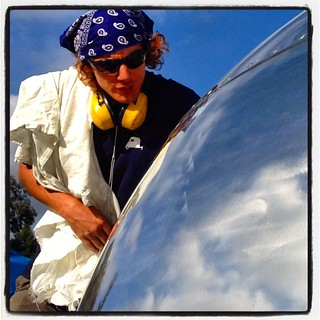 Lucy getting the Chaco Canyon grime buffed off at @hofarc in Santa Barbara. #airstream #airstreamdc2cali  #california #vintageairstream #vintageairstream