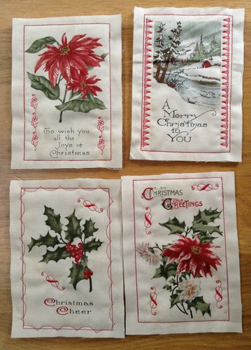 Christmas fabric postcards