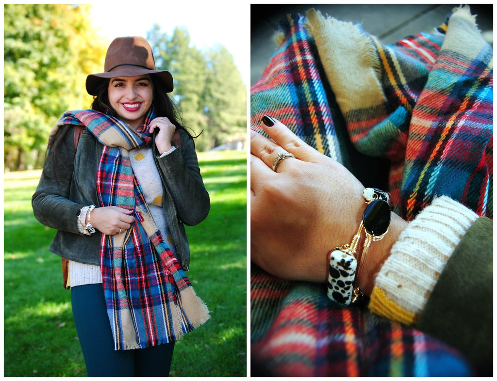 cozy preppy fall outfit | Target oversized plaid scarf multicolored | Candles and Confetti bangles