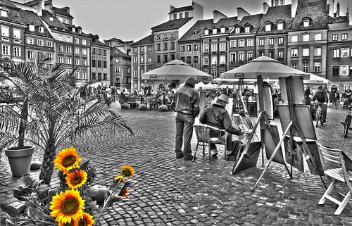 flowers architecture blackwhite europe poland sunflower warsaw yellowflowers easterneurope blackwhitecolour citysquares warsawnewtown