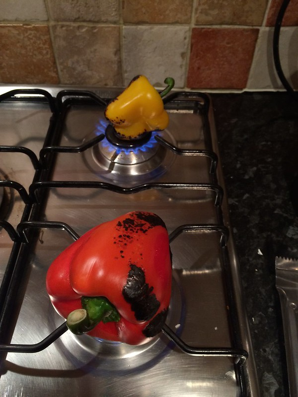 Chicken Provencale : Turn the peppers when blackening
