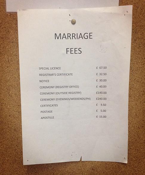 Gibraltar Marriage Fees