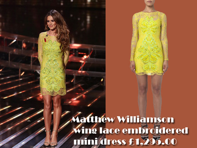 Matthew-Williamson-wing-lace-embroidered-mini-dress,Matthew Williamson neon lace dress, neon Matthew Williamson lace dress, gold glittered sandals, gold glittered Saint Laurent sandals, Saint Laurent sandals, Matthew Williamson wing lace embroidered mini dress, party season, what to wear to a Christmas party, how to dress for Christmas party, Cheryl Fernandez-Versini in Matthew Williamson wing lace embroidered mini dress
