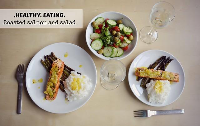 Ηealthy eating, salmon and asparagus recipe