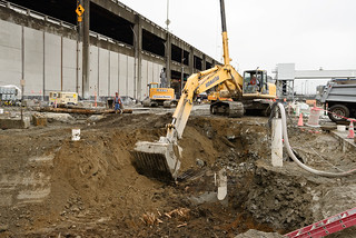 Seattle Tunnel Partners digging the circular pit that will be used to access and repair Bertha