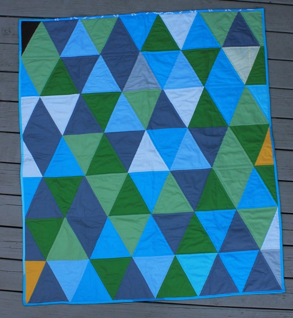Teal triangle Baby Quilt