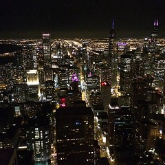 View over Chicago from last night. The colored lights gave off a Shanghai vibe.