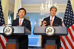 U.S. Secretary of State John Kerry and Republic of Korea Foreign Minister Yun Byung-se address reporters after the 2+2 Ministerial at the U.S. Department of State in Washington, D.C., on October 24, 2014. [State Department photo/ Public Domain]