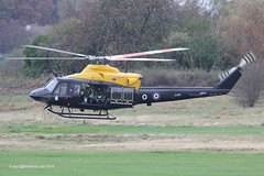 ZJ707 - 2002 build Bell 412EP Griffin HT.1, departing Barton after a training sortie