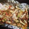 La comida de hoy: Pescado empapelado y al horno con verduras avompañado de arroz y cuscus