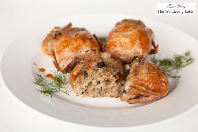 Roast quail stuffed with sticky rice and mushrooms