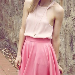 Outfit featuring pink Catini designs top and pink asos midi skirt