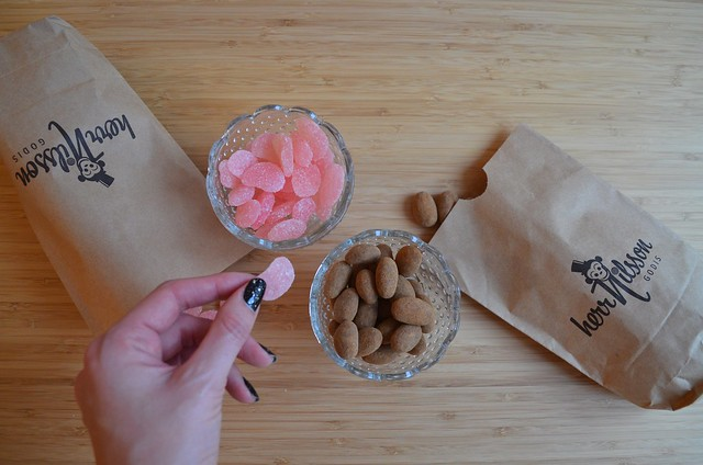 Herr Nilsson Godis Berlin_ Scandinavian candy store_ tasting sour watermelons and cinnamon-chocolate almonds in bowls