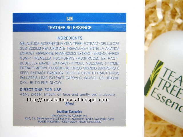 LJH Cosmetics Tea Tree Essence Ingredients