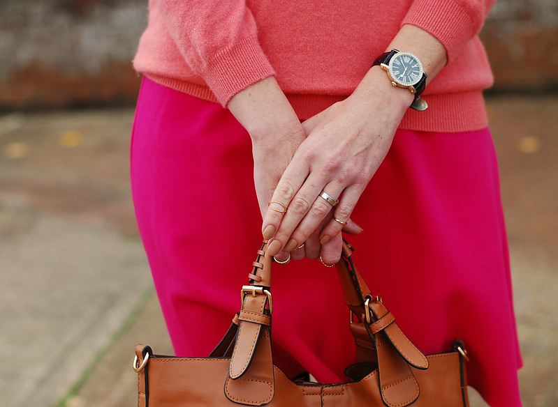 Coral cashmere, hot pink and tan - fall style