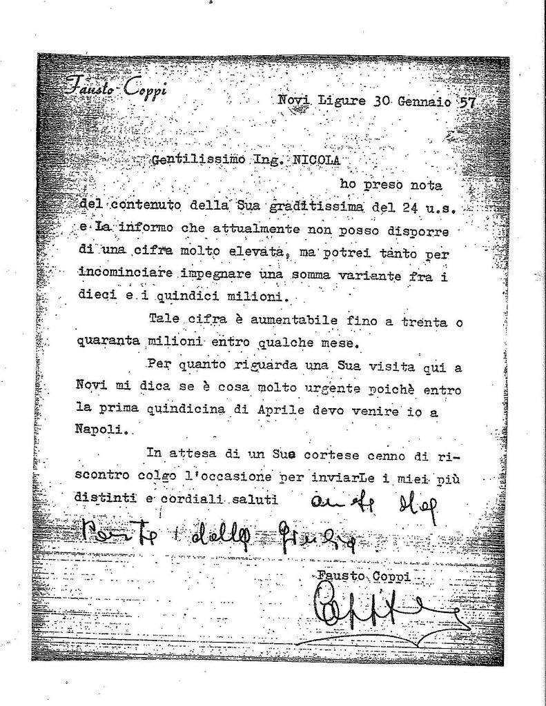 Lettera di Fausto Coppi a Nicola Vietri