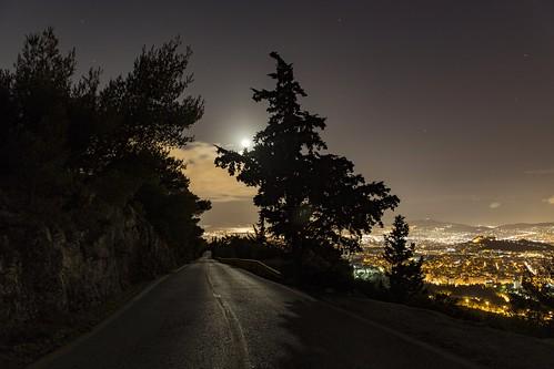 landscape night greece canon moonlight street