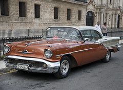 1957 Brown Oldsmobile Super 88 Holiday Coupe Taxi. Havana, Cuba
