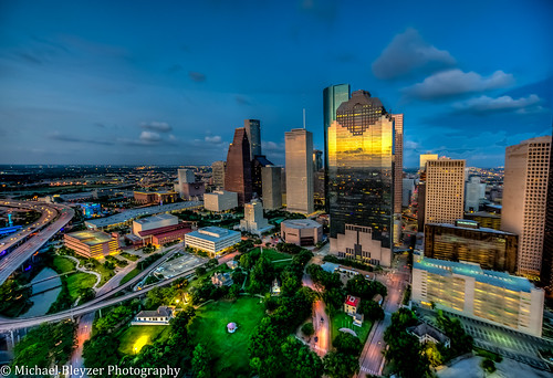 sunset reflections houston aerial aerialphotography hdr houstondowntown 5fhdr