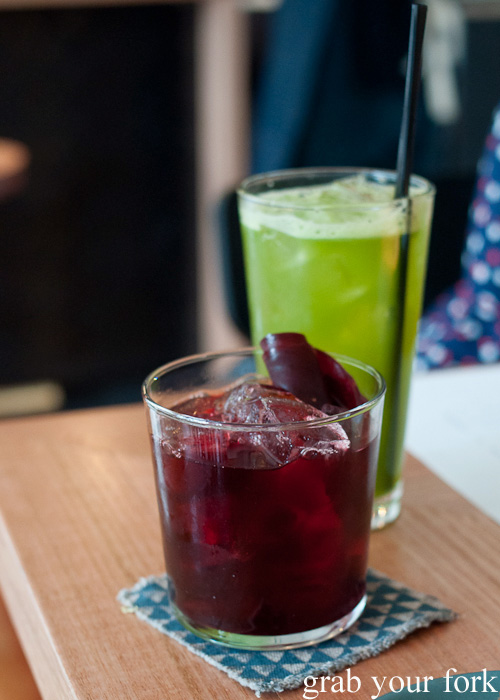 Purple drank beetroot and celery cocktails at ACME, Rushcutters Bay