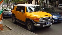 off-roading(0.0), automobile(1.0), automotive exterior(1.0), toyota(1.0), sport utility vehicle(1.0), vehicle(1.0), toyota fj cruiser(1.0), compact sport utility vehicle(1.0), bumper(1.0), land vehicle(1.0),