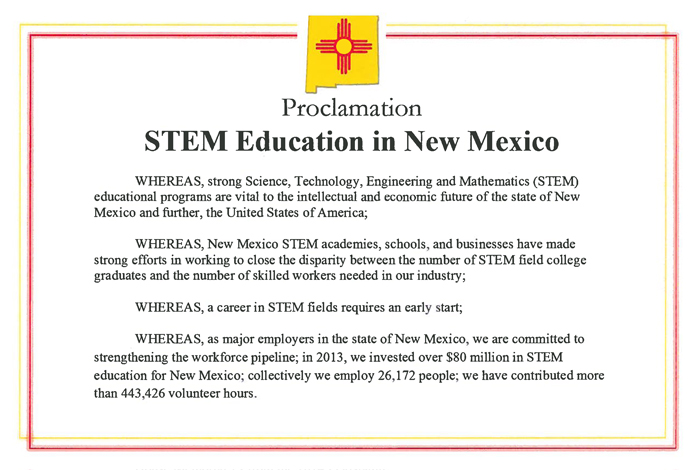 Top section of a one-page proclamation recently signed by major New Mexico employers.