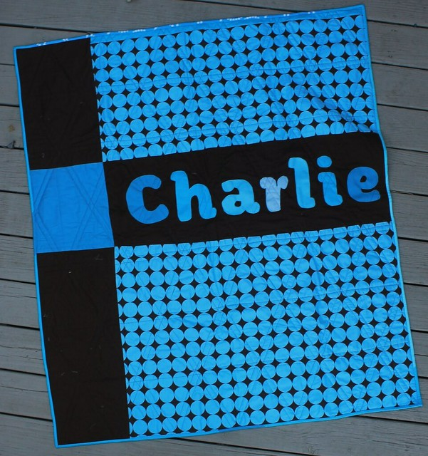 Charlie - Triangle Baby Quilt Back with Applique name