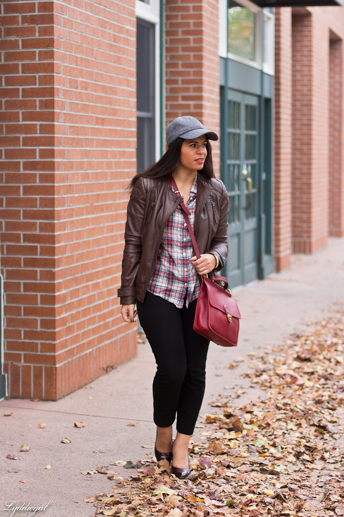 brown leather jacket, plaid shirt, wool cap-1.jpg