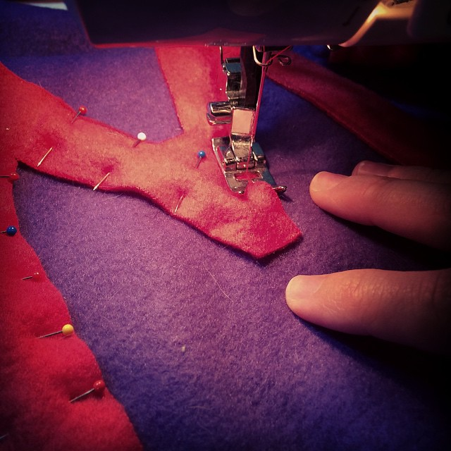 Sewing M's cape.