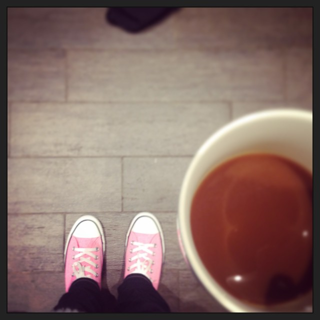 Two of my favorite things: new pink chucks, coffee.