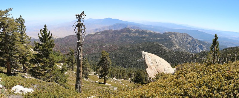 Panorama view southwest to Tahquitz and Lily Rock from Shirley Peak Saddle