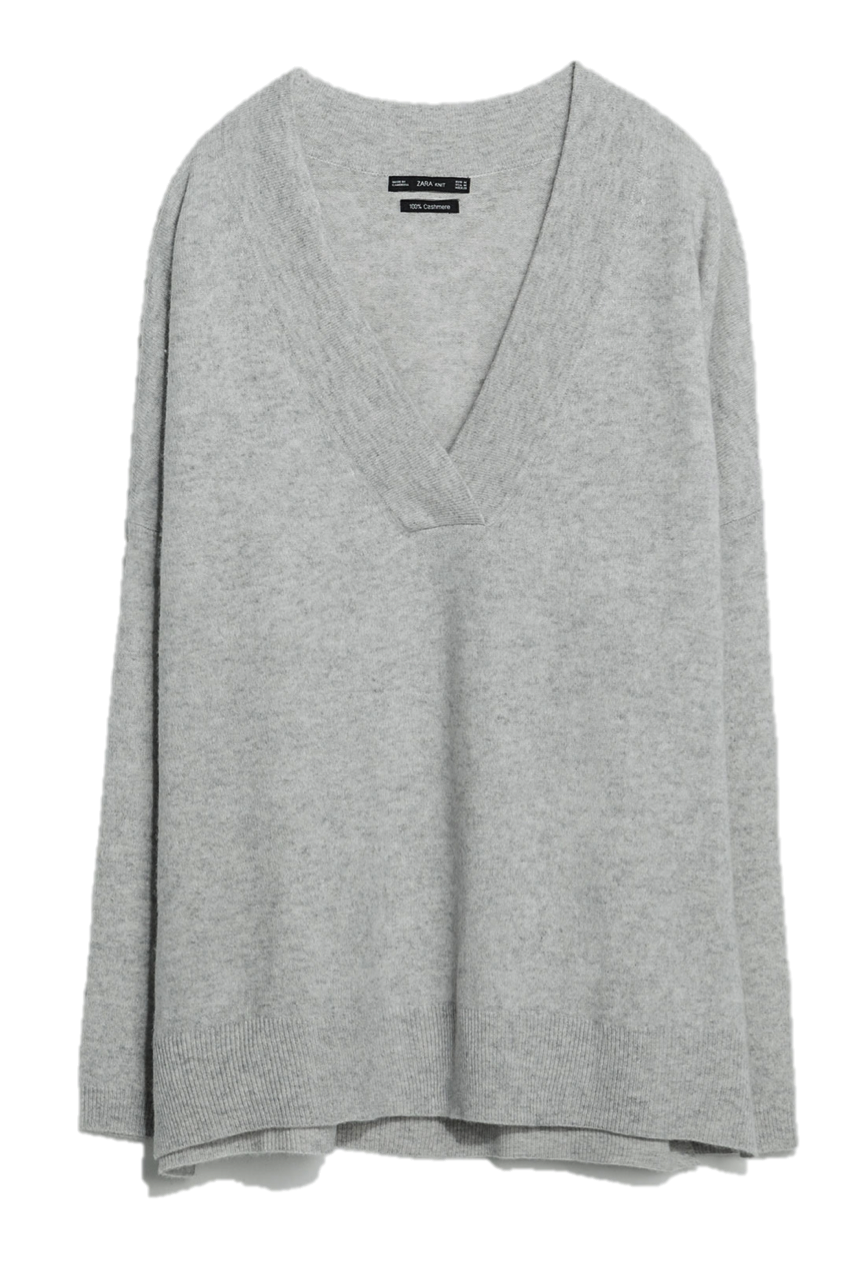 Zara grey cashmere v-neck sweater