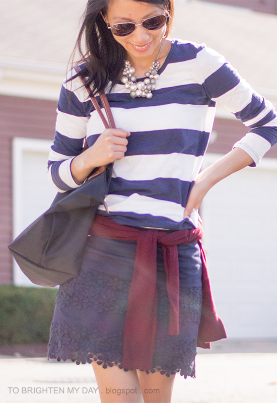 rugby striped top, burgundy sweater, navy lace skirt