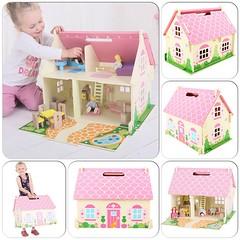 Blossom Cottage - ett bärbart dockhus som inkluderar fyra dockor och ett möbelset i 18 delar. 51 x 42 x 35 cm. 995 kr. #dockhus #träleksaker #bigjigs #smultronbyn