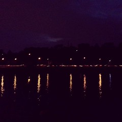Lights on the Schuylkill River last night across from boat house row